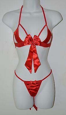 Bra Panties 3 Piece (Leg Avenue, 3 piece Bra Set, Satin Red, Bows, Bra, Thong Panties, Wrist Ties )