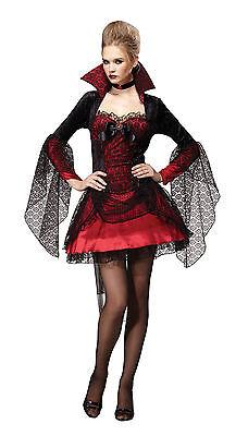 Vampiress Dark Mistress Halloween Fancy Dress Costume Size 10-14