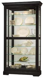Howard Miller 680-538 (680538) Tyler II Lighted Curio Cabinet - Black Satin