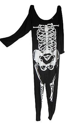 UK 20/22 Halloween Skelett Knochen Anzug Overall Kostüm Kleid Outfit NEU (Halloween Kostüm Kleid Anzug)