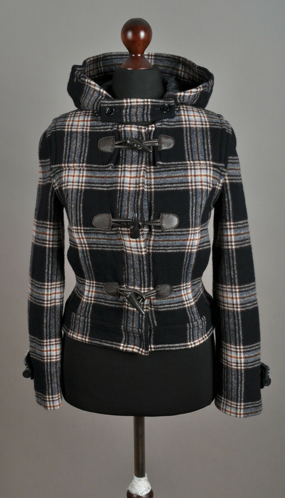 Women's GANT Checked Short Duffel Coat Jacket Wool