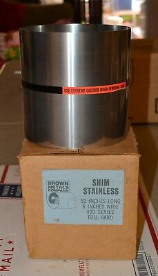 Brown Metals Company Stainless Steel Shim Stock 6 X 50 300 Series Full Head New