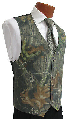 Mens Camouflage Tuxedo Vest & Long Tie Set Mossy Oak Break-Up Camo Wedding Prom  - Camo Tux