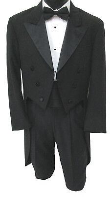 Men's Black Tuxedo Tailcoat Satin Peak Lapel Damaged Discount Halloween Costume