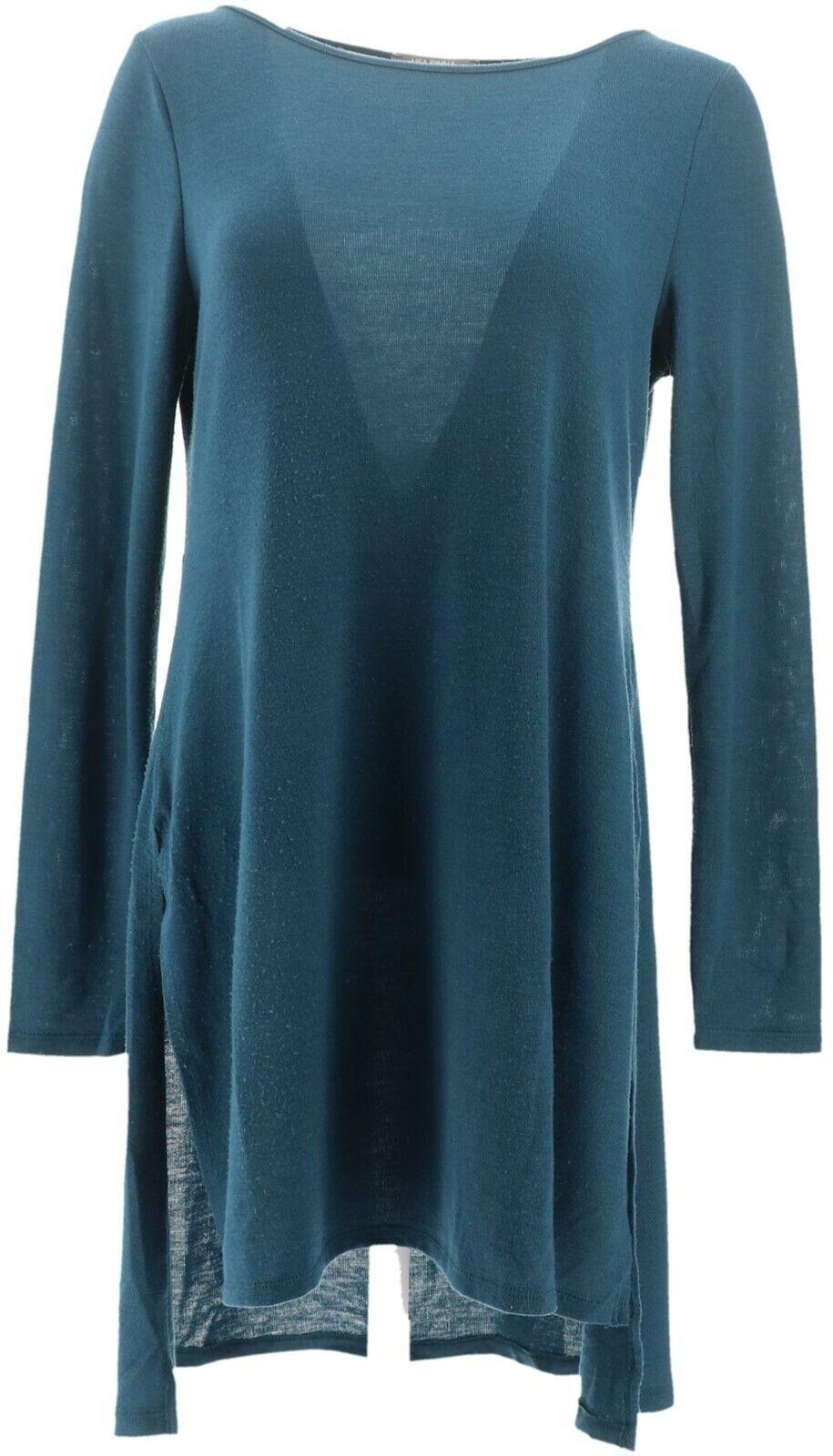 Isaac Mizrahi Essentials Long Slv Knit Tunic Charcoal XS NEW A256464