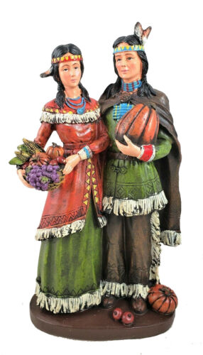 Native American Couple Fall Harvest Thanksgiving Figurine New