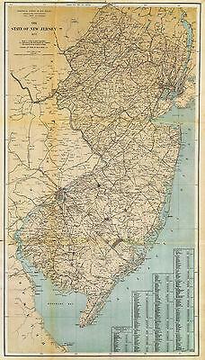 1877 Map New Jersey U.S. Coast Survey Chart Wall Poster Vintage History Coastal