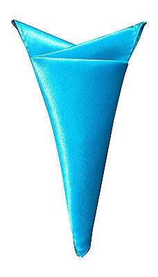 (Mens Stylish Satin Solid Colour Square Pocket Handkerchief Hanky Turquoise)