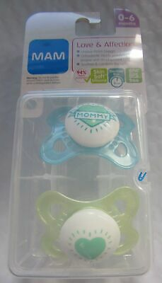 MAM Pacifiers, 0-6 Months,  'I Love Mommy' Design Collection, Boy, 2-Count