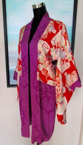 VTG Silk Kimono Purple Peony Print Sz L