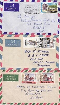 C5109 Tanzania 18 diffeent stamped covers air UK + local; mainly 1990s?