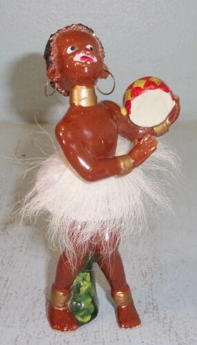 Vintage Porcelain African Girl Figurine Playing Bongo Drum Fur Skirt Earrings