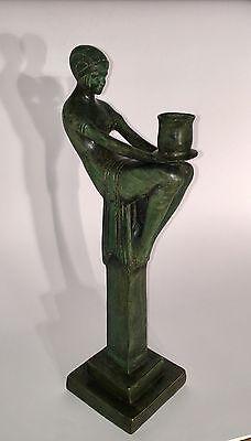 Bronzefigur Art Deco Sitzende Frau Bronze Schweden Stockholm Kerzenleuchter