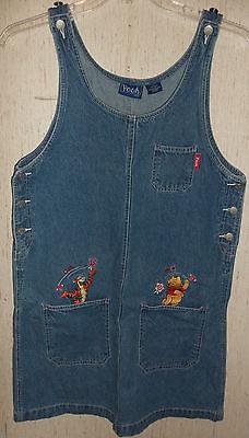 WOMENS Pooh Disney Winnie the Pooh & Tigger BLUE JEAN JUMPER DRESS  SIZE S