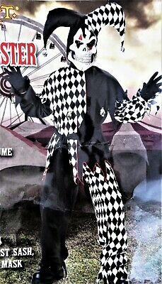 Halloween Costume Evil Jester Boys Size 6-8 Small Black & White Complete 5 Piece - Halloween Costume Black And White