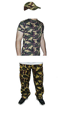MEN'S ARMED FORCES ARMY CAMOUFLAGE FULL SET FANCY DRESS T-SHIRT PANTS HAT OUTFIT](Army Outfit Men)
