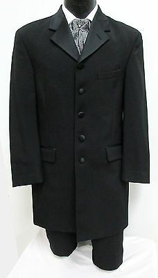 Men's Black Tuxedo Jacket Long Frock Coat Halloween Costume *Damaged Discount*