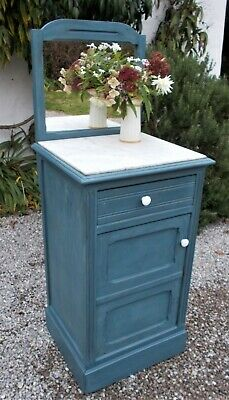 antique French cupboard/washstand, painted wood/marble,drinks cupboard,storage