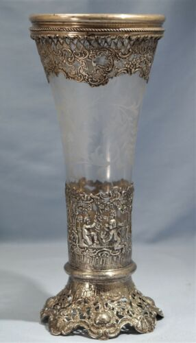Antique German 800 Hanau Reticulated Silver & Etched Glass Vase Late 19th C.