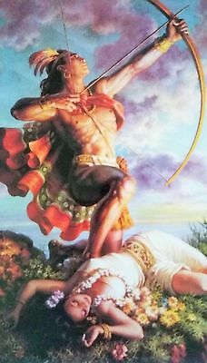 Traditional Mexican Calendar Art Jesus Helguera Aztec archer warrior girl