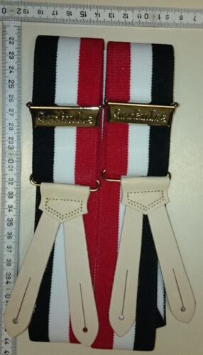 HERKULES suspenders Made in Germany  Black - white - red - size Medium-Large