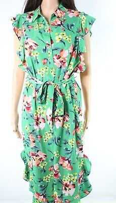 Lauren by Ralph Lauren Womens Green Size 2 Floral Print Shirt Dress $155 048