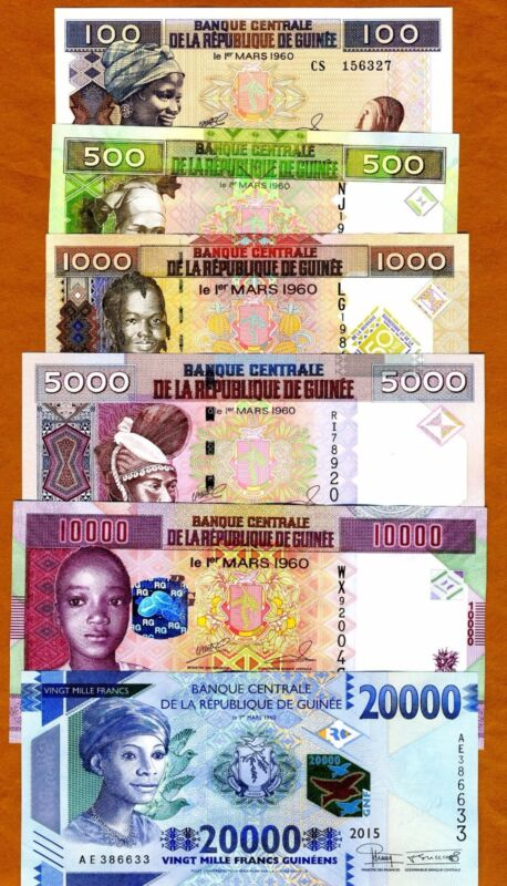 Guinea SET 100;500;1000;5000;10000;20000 Francs 2006-2017, UNC