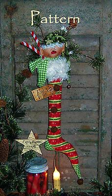 Primitive Patti's Ratties Elf Doll Ornie Christmas Stocking Paper Pattern #383