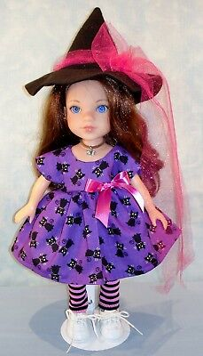 14 Inch Doll Clothes Black Cats on Purple Halloween Witch Outfit by Jane Ellen - Ellen On Halloween