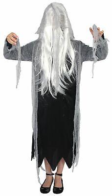 hen Teens Geister Kleid mit Kapuze und weißen Haaren (Kostüm Teens)
