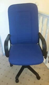 Office high back chair blue upholstery black pleather back