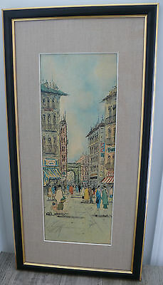 European Street Print Scene Mid Century Shops Architecture Fashion Prof. Framed