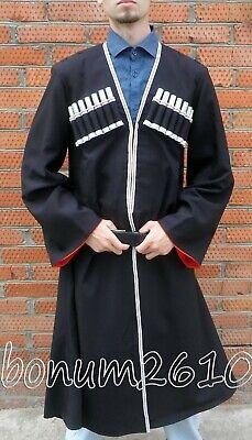 Black Chokha Traditional Georgian costume + 16 chest accessories russian Cossack](Russian Cossack Costume)