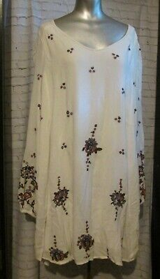 Free People Boho White Oxford Embroidered Flower Open Back Babydoll Dress L