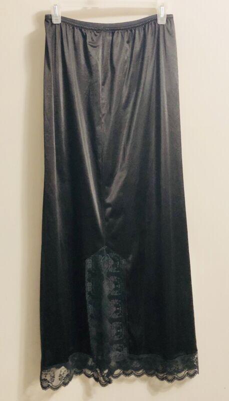 Women's Long Black Satin Nylon Lace Half Slip Vintage No Tag