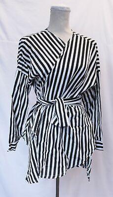 Boohoo Women's Plus Stripe Wrap Top LL1 Black/White Size US:12 UK:16 NWT
