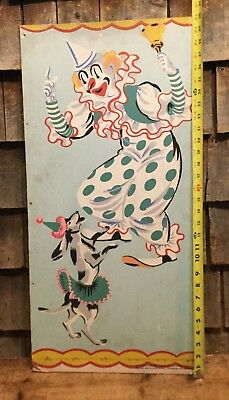 Vintage Original Circus Carnival Clown Dog Folk Art Painted Sign Panel 30x15