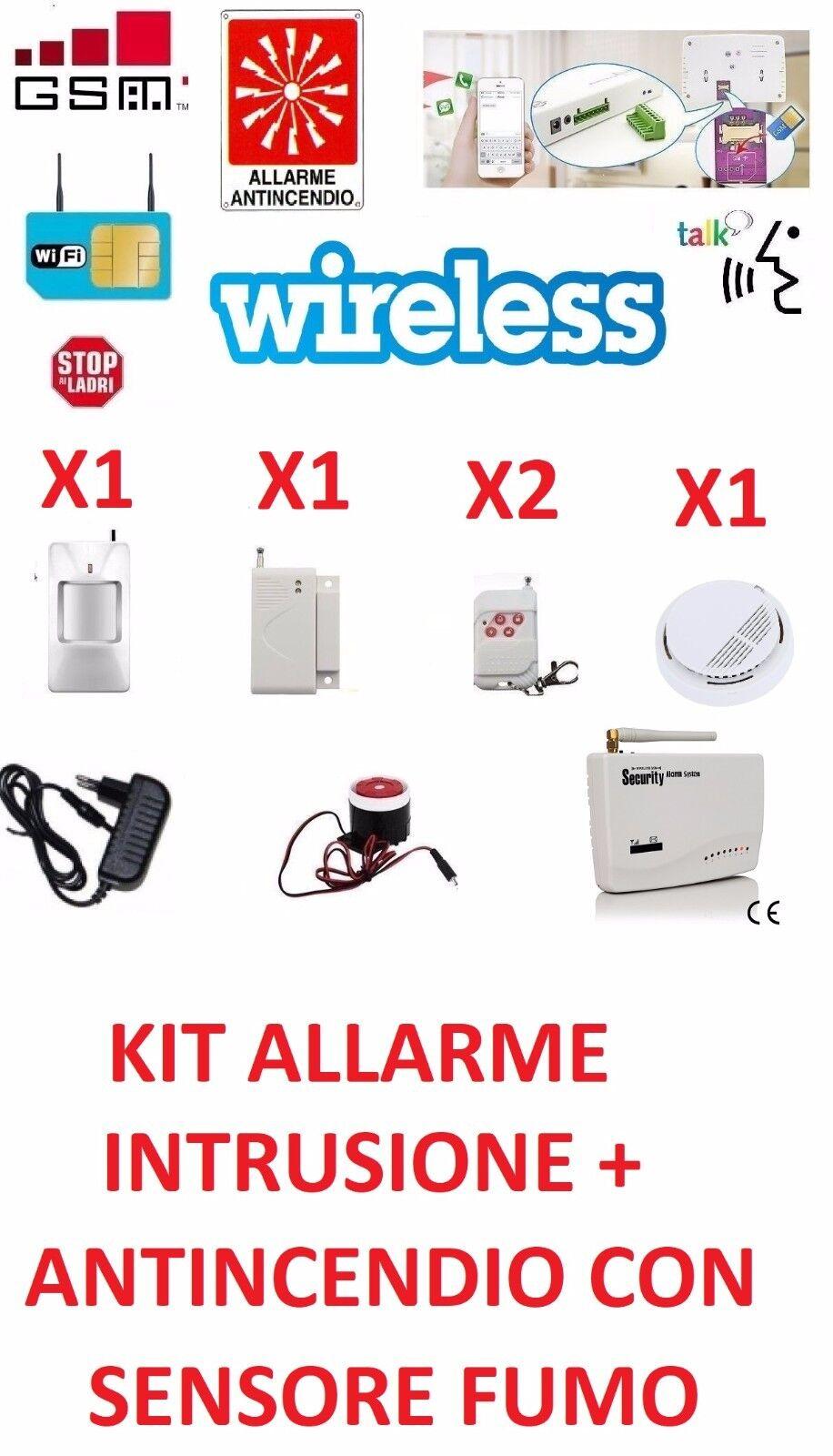 KIT CENTRALE ALLARME WIRELESS ANTINCENDIO INTRUSIONE FUMO WIFI SENZA FILI GSM