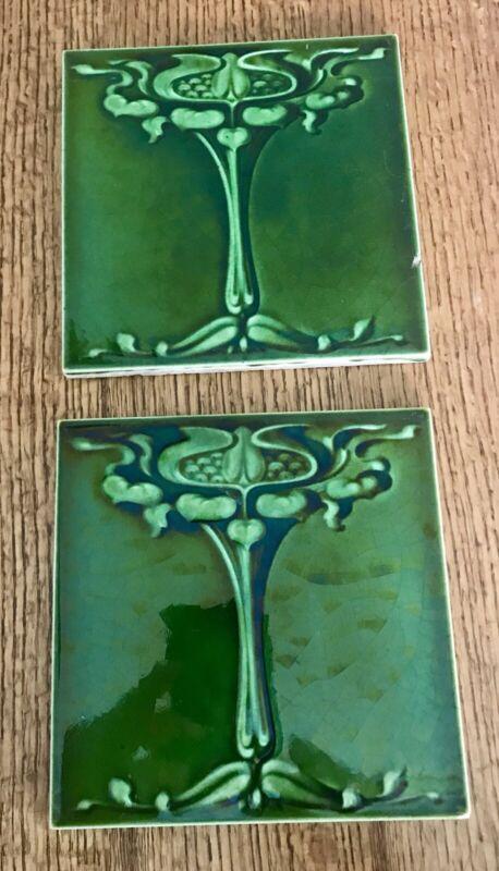 Antique Art Nouveau Architectural Tiles Floral 1905 Green