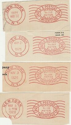 U.S. Meter Stamps -- 1925 to 1926 -- 4 Different, all from New York City