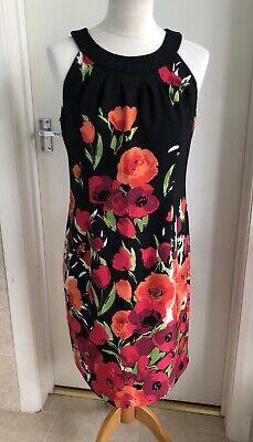 Jessica Howard Black Floral Dress Size 14 Excellent Condition