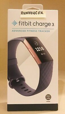 Fitbit Charge 3 Blue Gray/Rose Gold, Small & Large Bands Included, NEW IN BOX