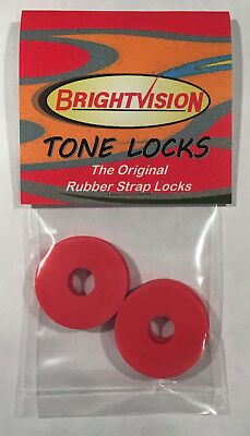 Red Classic Guitar - Four RED Rubber Guitar Strap Locks - Famous Classic Design & Great Reliability