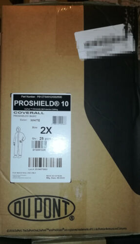 Case of 25 DuPont Proshield PB127S Coverall with Hood, Size 2XL, SMS