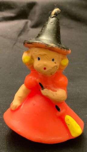 VINTAGE GURLEY UNUSED HALLOWEEN CANDLE - LITTLE GIRL WITCH