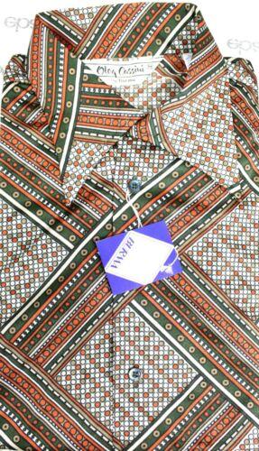 VTG Oleg Cassini Mens 1970s Disco Slinky Shirt Nylon NOS S M L XL Dot Plaid Rust