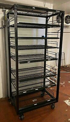 Anthony Walk In Roll Away Cart Shelving Unit Shelf Wire Display Rack Cooler B