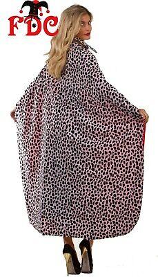 Cruella Deville Cruella De Vil Cloak with Collar Cape Dalmatian Print Long 48
