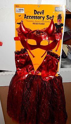 Halloween Costume Devil Accessory Set 3+ Fits Most Girls Tutu Gloves Mask - Devil Tutu Halloween Costume