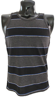 CSG Champs Sports Gear Surf Time Tank Top sz S Small Striped Charcoal Black